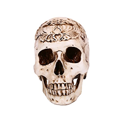 Resin Skull Head Decor Oil Drop Effect Halloween Skeleton Head Sculpture Haunted House Props with Detachable Jaw ()