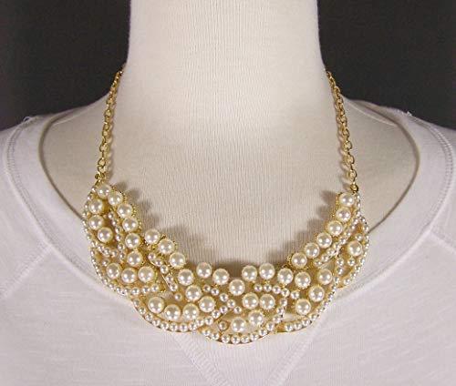 Gold tone cream faux pearl collar bib statement necklace 17-19 long R-5298