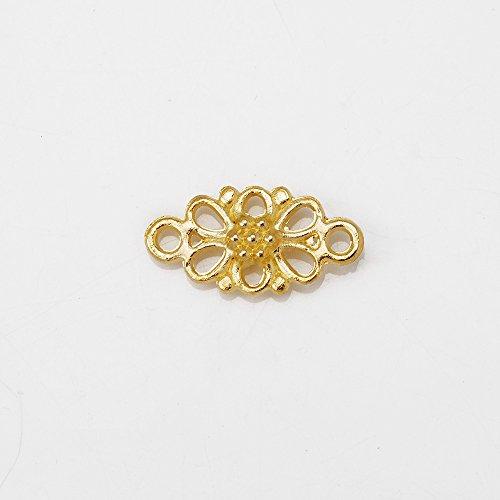 10pcs 8x16mm Zinc Alloy Brass Hollow Flower Wraps Connectors, Flower Connectors Links,18K Gold ()
