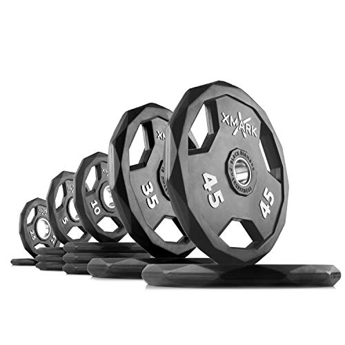 XMark Black Diamond 225 lb Set Olympic Weight Plates, One-Year Warranty, Patented Design