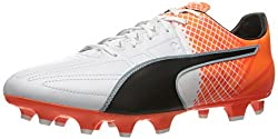 PUMA Men's Evospeed 3.5 Lth FG Soccer Shoe, Puma White-Puma Black-Shocking Orange, 13 M US
