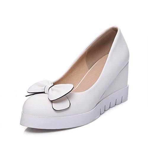 Balamasa Ladies Archi Zeppe Tomaie Basse Tomaia Pompe Urethane-scarpe Bianche