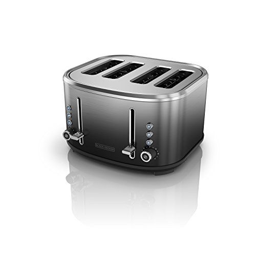 (BLACK+DECKER 4-Slice Extra-Wide Slot Toaster, Stainless Steel, Ombré Finish, TR4310FBD)