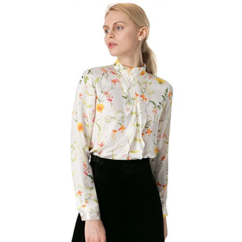 - LilySilk 100 Silk Blouse For Women Floral Long Sleeve Lady Shirt 22 Momme Pure Mulberry Charmeuse Silk Floral XXL/18-20