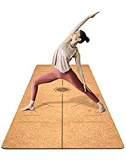 FrenzyBird 5mm Cork Yoga Mat with Oxford Mat Bag and Strap, Double-Sided,Free of PVC, for Yoga,Hot Yoga and Pilates