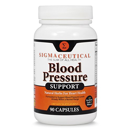 Premium Blood Pressure Support Formula - High Blood Pressure Supplement w/ Vitamins, Hawthorn Extract, Olive Leaf, Garlic Extract & Hibiscus Supplement Reducing Blood Pressure Naturally - 90 Capsules - Hawthorn Garlic