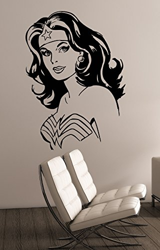 Wonder Woman Vinyl Sticker Wall Decal DC Comics Superhero Art Decorations for Home Teen Kids Girls Room Bedroom Decor (Sexy Female Cartoon Characters)