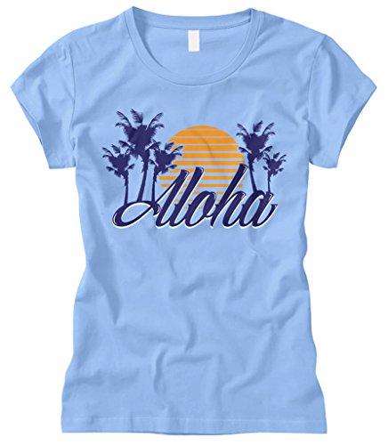 Cybertela Women's Aloha Hawaiian Hi Sunset Palm Tree Fitted T-Shirt (Light Blue, Large) (Kamehameha Aloha Shirts)