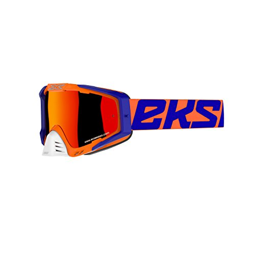 EKS Brand EKS-S Goggle 2018 Flo Orange/Blue/White & Red Mirror Lens