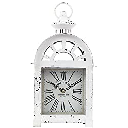 Lily's Home Vintage Inspired Lantern Grand Central New York City Train Station-Style Mantle Clock, Battery Powered with Quartz Movement, Fits with Victorian or Antique Décor Theme (13 3/4 Tall)