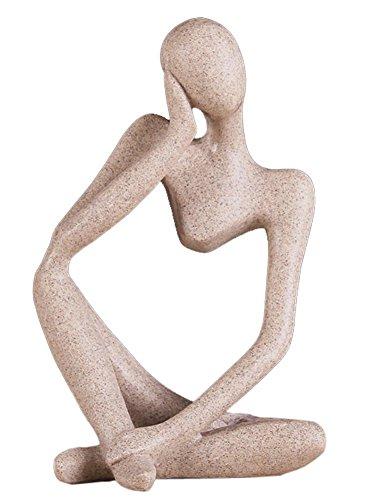 OMA Thinker Statue Meditation Yoga Figurine Sand Stone Finish Abstract Art Home Decor BRAND (Thinker III)