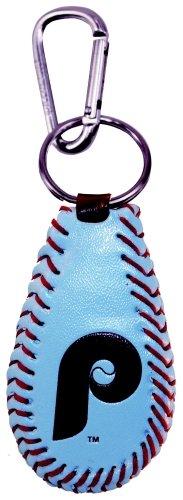Baseball Leather Phillies Philadelphia (MLB Philadelphia Phillies Retro P Logo Team Color Baseball Keychain)
