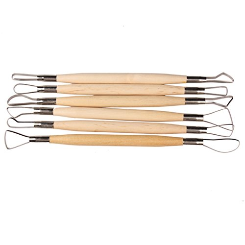 6PCS Wood Handle Wax Pottery Clay Sculpture Carving Tool DIY Craft - Drive Outlets In International