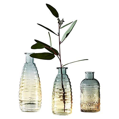 Transparent Glass Vase Crystal Flower Table Centrepiece Vintage Embossed Plants Decor Home Living Room Arrangement Blue Hydroponic Ornament Decoration (Centrepieces Vintage Flower)
