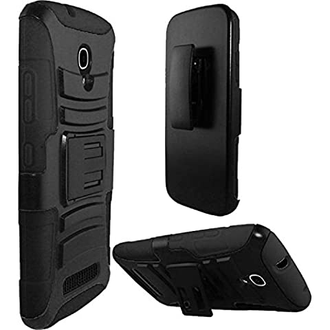 HR Wireless Side Stand Cover Case with Holster for Alcatel One Touch Pop Mega LTE A995G - Retail Packaging - (Alcatel A995g Lte Phone Cover)
