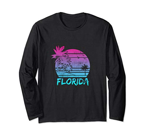 Florida Vacation Palm Tree Beach Vintage Retro Long Sleeve