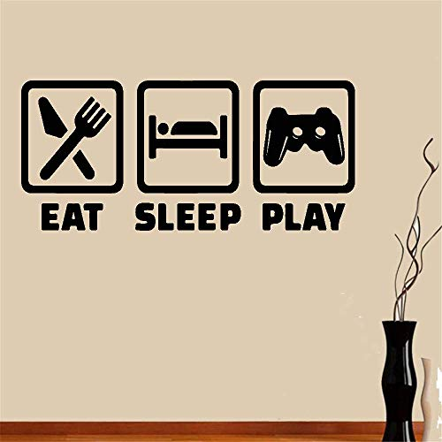 Vinyl Saying Lettering Wall Art Inspirational Sign Wall Quote Decor Wall Sticker Decals Eat Sleep Play for Game Room Boys Room Home Decor]()