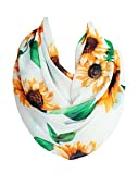 Etwoa's White Sunflower Pattern Infinity Scarf Circle Loop Scarf