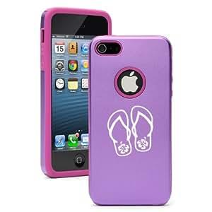 Apple iPhone 5c Purple CD861 Aluminum & Silicone Case Cover Flip Flops with Hibiscus