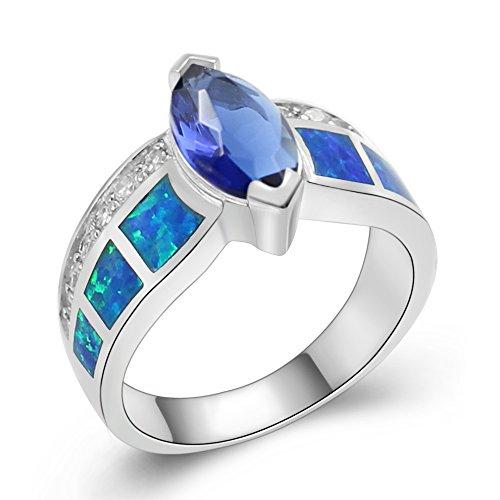 (Sinlifu Silver Created Hawaii Blue Opal And Dark Blue Tanzanite Marquise Women Ladies Anniversary Ring (9,)