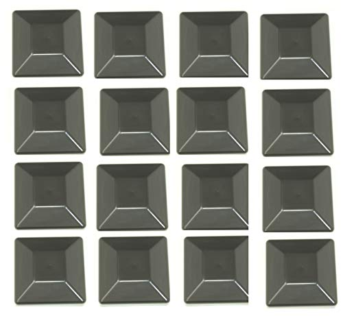 (JSP Manufacturing 16 Pack Fence Post Plastic Black Caps 4X4 (3 5/8