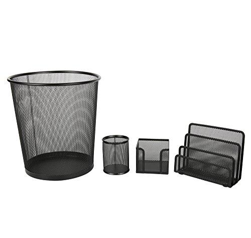 Exerz Deluxe Mesh Office Set 4 Pcs – Include Mesh Bin, Letter Shelf/Holder/Rack, Memo Holder, Pen Holder/Pot. Sleek and Anti-Scratch Design, Suitable for Office, Home Office, School, Study -Black by Exerz