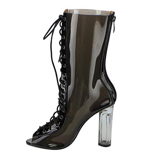 Cape Robbin Ff48 Donna Peep Toe Corsetto Lace Up Lucite Heel Stivali Metà Polpaccio Nero