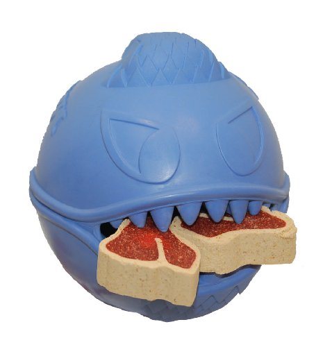 Jolly Pets 3.5-inch Monster Ball, Blue (3.5in Dog Toy)