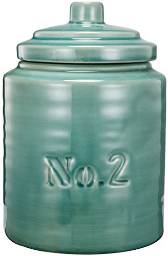 Home Love Affair Smooth Ceramic Cityscape Garden Lidded Cookie Jar 6x8.5 Aged Cracked Celadon Green #2