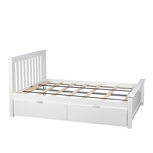 Max & Lily Solid Wood Full-Size Bed with Under Bed Storage Drawers, - White Wood Bed Full Size