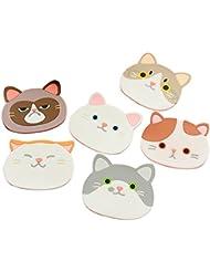 Ozzptuu Set of 6 Silicone Cartoon Cat Pot Holders Heat-resistant Non-slip Trivet Mat Hot Pot Cup Coasters