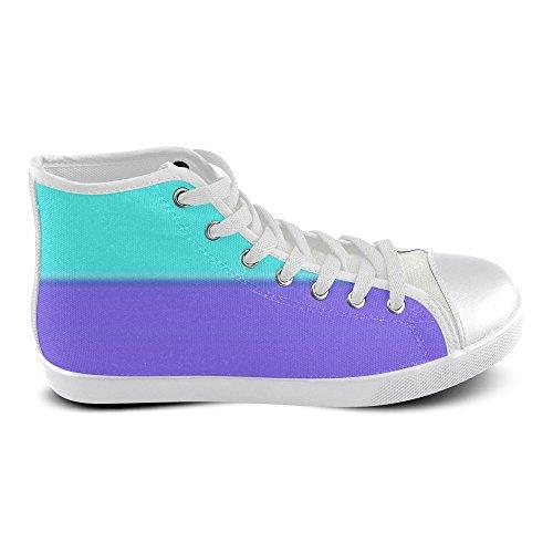Artsdd Aangepaste Paars En Aqua Hoge Top Canvas Schoenen Voor Vrouwen (model002)