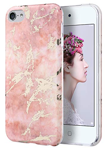 (ULAK iPod Touch Case, iPod 6 Marble Case, Clear Case Slim fit Anti-Scratch Flexible Soft TPU Bumper Hybrid Shockproof Protective Case for Apple iPod Touch 5 / 6th / 7th Generation-Marble Pink)