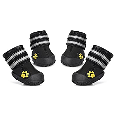 Petacc Dog Shoes Water Resistant Dog Boots Anti-Slip Snow Boots Warm Paw Protector for Medium to Large Dogs Labrador Husky Shoes 4 Pcs by Petacc