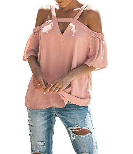 Rosa Sciolto Estivi Chiffon Grazioso Fashion Donne Bretelle Stlie Corta V Camicetta Shirts Manica del Senza Eleganti Donna Monocromo Casuale Blusa Neck Tops F7v1x1