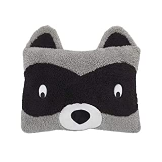 Little Love by NoJo – Square Shaped Raccoon Plush Decorative Pillow with Embroidery, Decorative Nursery Pillow, Playroom Décor, Cute Throw Pillows, Black, Grey
