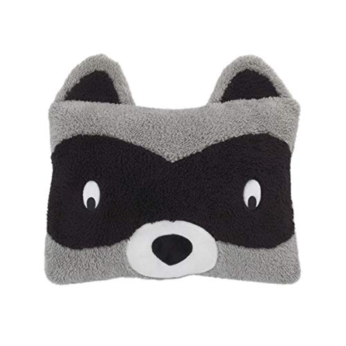 Little Love by NoJo Raccoon Shaped Plush Sherpa Decorative Pillow, Grey/Black/White