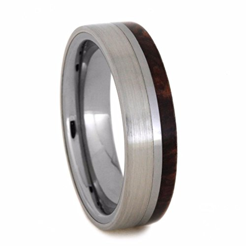 Honduran Rosewood Burl, Tungsten Carbide 6mm Comfort-Fit Brushed Titanium Wedding Band, Size 12.75