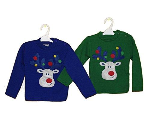 Tricot Blue Pull Noël Boutons Noël En Bébé À Reindeer Motif Ouverture De Avec 6EqFpp