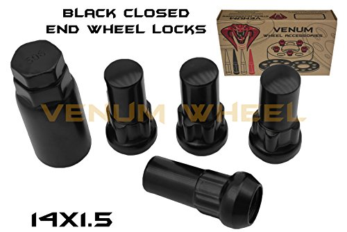4pc M14x1.5 2 Tall Black Anti-Theft Wheel Locking Lug Nuts + 1 Key For Aftermarket Wheels Only Works With Ford Chevy GMC Dodge RAM Jeep Toyota