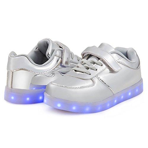 SAGUARO Jungen Mädchen Turnschuhe USB Lade Flashing Schuhe Kinder LED Leuchtende Schuhe Silber
