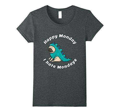 Happy Pug In Costume (Womens Happy Monday Pug in Costume T-shirt XL Dark Heather)
