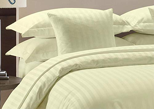 Duvet Cover Set with Zipper Closure 3pc Duvet Cover Set King/Cal-King (102'' x 94'') Size with Corner Ties,100% Egyptian Cotton 1000 Thread Count (King Size Ivory Stripe)