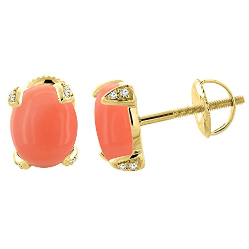 14K Yellow Gold Natural Coral Screw back Earrings Oval 9x7 mm with Diamond Accents