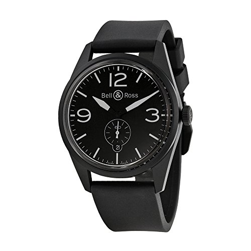 Bell-and-Ross-Vintage-Automatic-Black-Dial-Black-Rubber-Mens-Watch-BRV123-PHANTOM