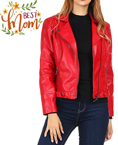 Faux Leather Jacket for Women, Moto Biker Short Coat Jacket Red S