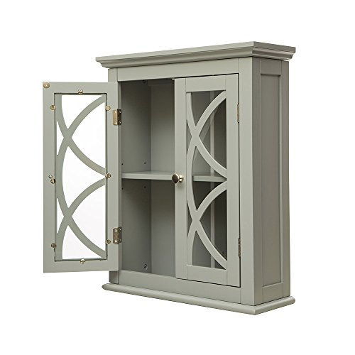 Glitzhome Wooden Wall Storage Cabinet with Glass Double Doors, Gray