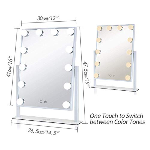 GeekHouse Lighted Vanity Mirror Hollywood Style Makeup Tabletops, Large Cosmetic Mirror with 12 x 3W Super Bright Dimmable Touch Control LED Bulbs, White