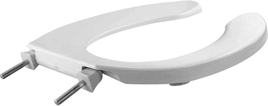 ELONGATED BEMIS 1955SSCT 000 Commercial Heavy Duty Open Front Toilet Seat without Cover will Never Loosen /& Reduce Call-backs Plastic White