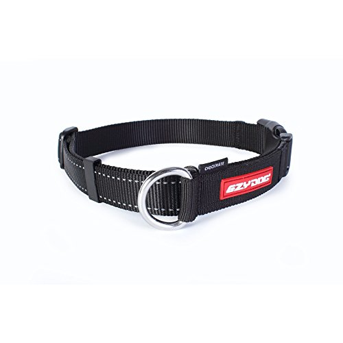 EzyDog Checkmate Martingale-Style Premium Nylon Safety Training and Correction Dog Collar - Quick-Clip Buckle and Reflective Stitching - Easy Control with no Choking Effect (Medium, Black)